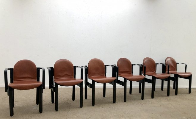 Rare Gerd Lange for Thonet armchairs with leather seatings, 1970s