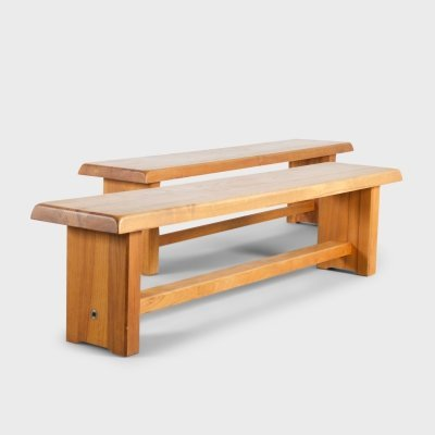 Set of Large Pierre Chapo S14 Benches in Solid Elmwood, France 1960s