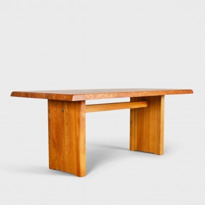 Pierre Chapo T14c Dining Table in Solid Elmwood, France 1960s