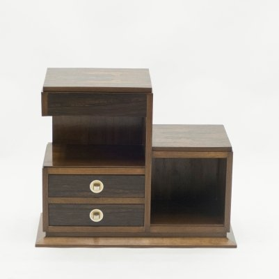 French art deco modernist rosewood & brass sewing cabinet, 1940s