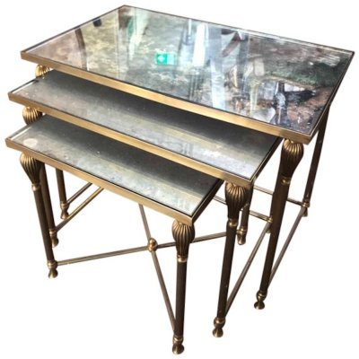 French 1930's mottled mirror top nesting tables