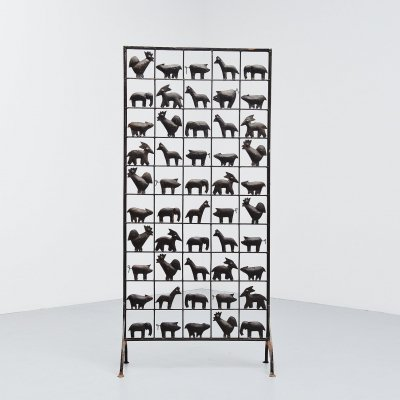 Atelier Marolles animal screen in wrought iron, France 1955