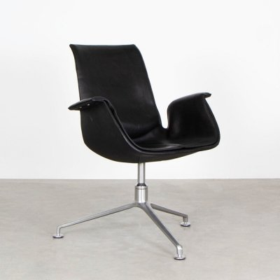 Fabricius & Kastholm black leather tulip chair by Walter Knoll, 1990s