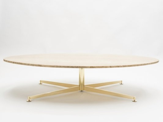 Elliptical travertine brass Coffee Table by Michel Kin for Arflex, 1960