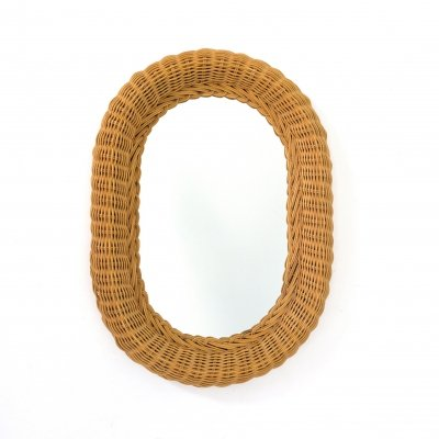 Oval mirror with a deep wicker frame, 1970s
