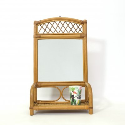 Vintage rattan mirror with a shelf, 1970's