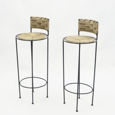 Pair of french bar stools in rope & metal by Audoux Minet, 1950s