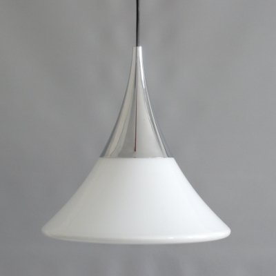 Conical opal glass pendant lamp, 1960s