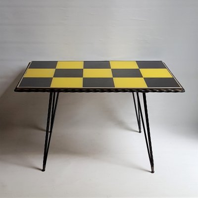 Hairpin coffee table with black / yellow tiles, 1950s