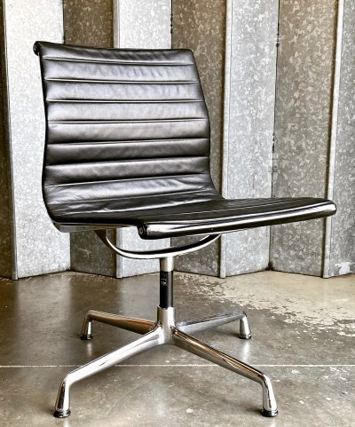 Vitra for Eames Alu group side chair in chrome & gently patinated leather, 1980s