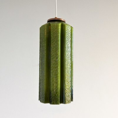 Green glass pendant lamp by Helena Tynell for Flygsfors Glasbruk, Sweden 1960's