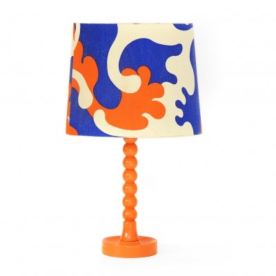 Table lamp with wooden base & original linen shade, Sweden 1960s