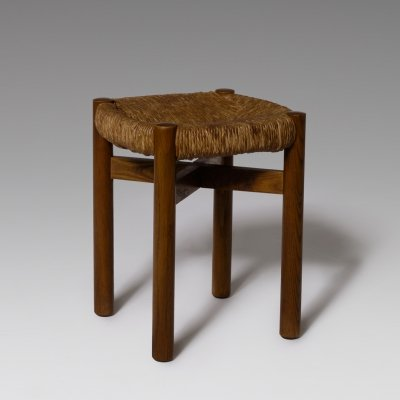 Charlotte Perriand 'Meribel' Stool in Stained Ash & Rush