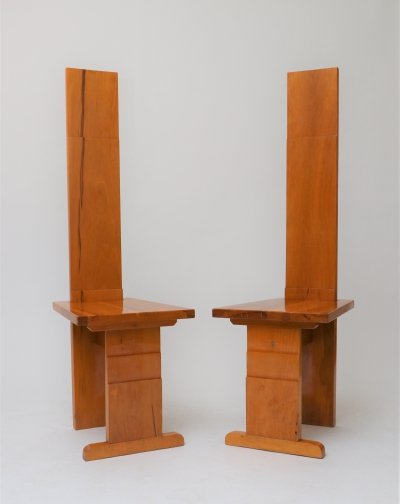 Architectural high back wooden chairs, Italy 1970's