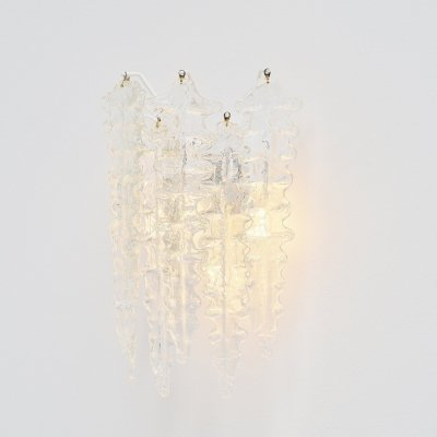 Paolo Venini clear glass wall lamp, Italy 1960