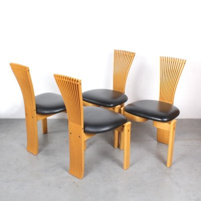 Set of 4 Totem dining chairs by Torstein Nilsen for Westnofa, 1980s