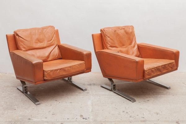 Mid-Century Modern Cognac Leather Club Chairs, 1960s