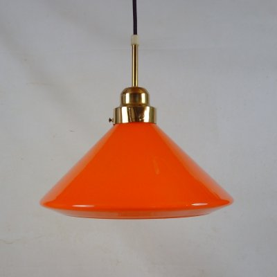 Vintage bright orange coolie pendant, 1970's