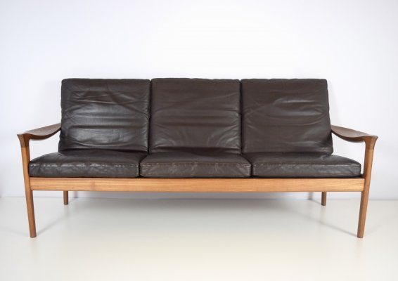 Juul Kristensen Three-Seat Sofa in Leather & Teak for Glostrup, Denmark 1960's