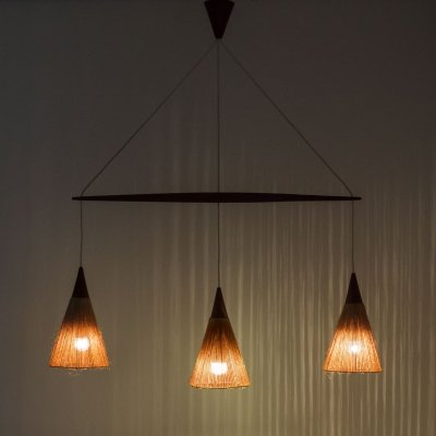 Temde Leuchten triple light hanging lamp, 1960s