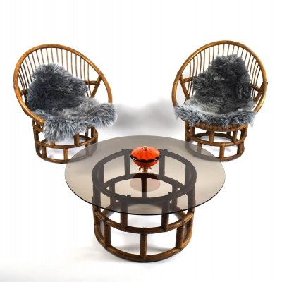 Mid Century Rattan / Bamboo Seating Group with Sheepskin, 1960s