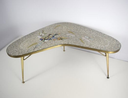 Mosaic & Brass Coffee Table by Berthold Muller-Oerlinghausen, Germany 1950's