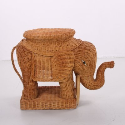 Rattan bamboo elephant side table, 1960s