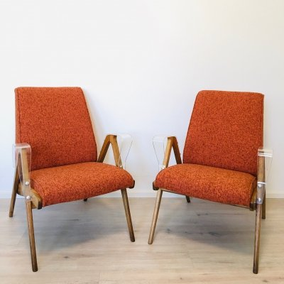 Mid-Century Orange Armchairs with Plastic Armrests from Tatra Nabytok, 1960s
