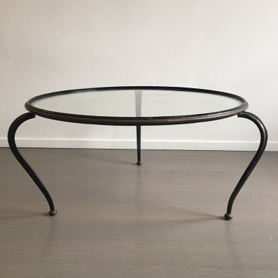 Brass & painted steel coffee table, 1950s