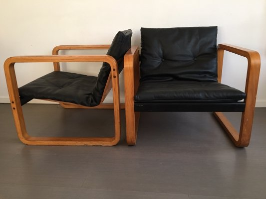 Pair of Bent plywood & leather lounge chairs, 1970s