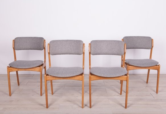 Set of 4 Model 49 Oak Chairs by Erik Buch for Odense Maskinsnedkeri / OD Furniture, 1960s