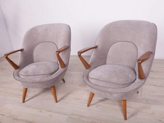 Pair of Model 345 Armchairs by J. Jędrychowicz & K. Racinowski for Poznan Furniture Factory, 1950s