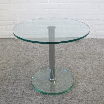 Vintage Round Glass Side Table, 1980s