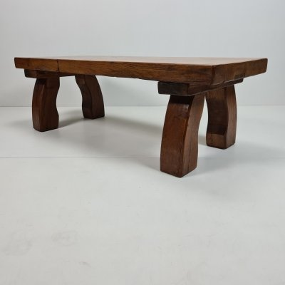 Rustic robust solid oak rectangular coffee table with curved legs, 1970s