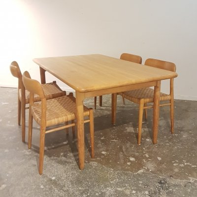 Dining set with 4 oak & cane no 75 chairs by Niels Moller & oak dining table