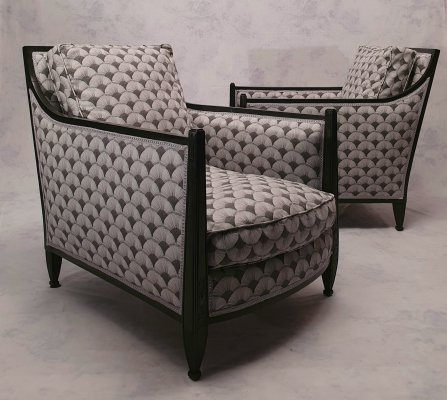 Pair of Art Deco Blackened Wood Lounge Chairs, 1930s