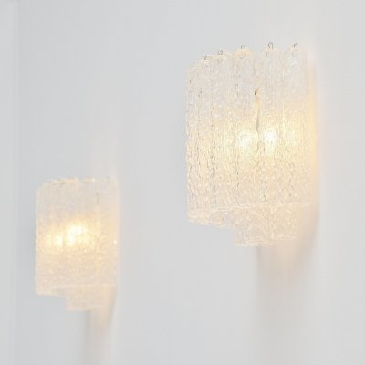 Paolo Venini tube glass sconces, Murano Italy 1960