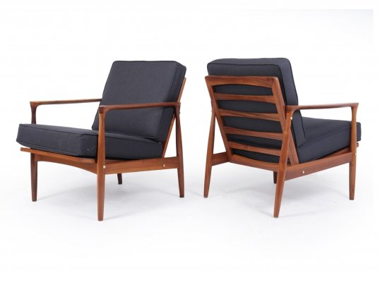 Pair of Walnut Mid Century Danish Armchairs, c1960