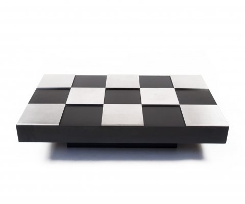 Black Laqcuered And Steel Modernist Coffee Table by Willy Rizzo, Italy 1970's