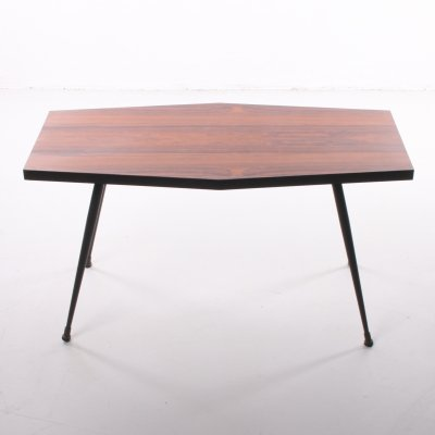 Rosewood plant table or side table with black metal legs