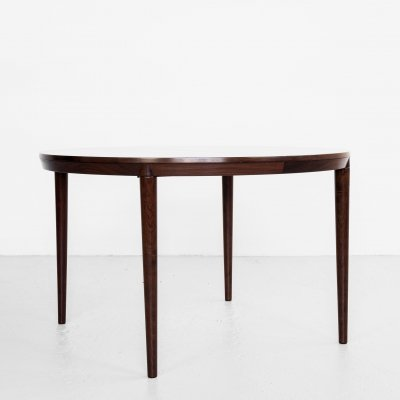 Midcentury Danish round dining table in rosewood with 2 extensions, 1960s