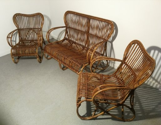 Rattan seating group by Rohé Noordwolde, 1950's