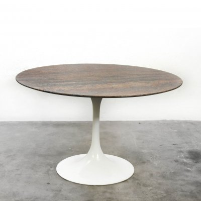 Round dining table with a brown marble top on a trumpet shaped foot, 1960s