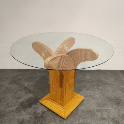 Bamboo dining table by Vivai Del sud, 1970s