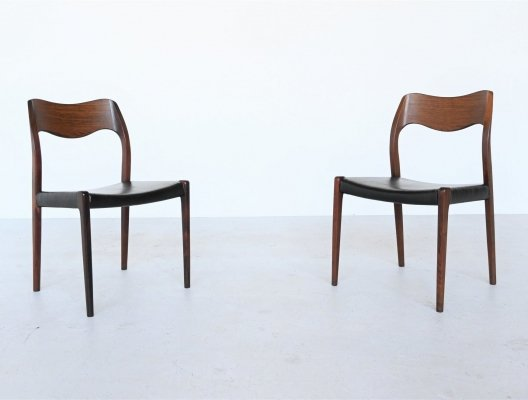 Niels O. Moller model 71 pair of rosewood dining chairs, Denmark 1951