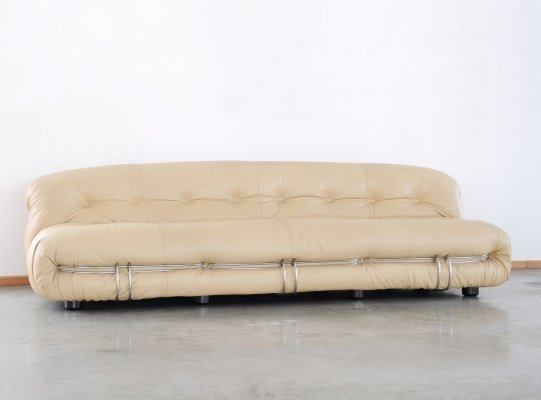 1970s Tobia & Afra Scarpa Soriana original leather sofa for Cassina