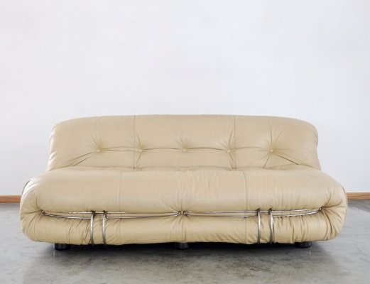 1970s Tobia & Afra Scarpa Soriana leather sofa for Cassina