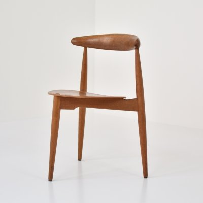Early 'Heart' side chair by Hans J. Wegner for Fritz Hansen, Denmark 1952