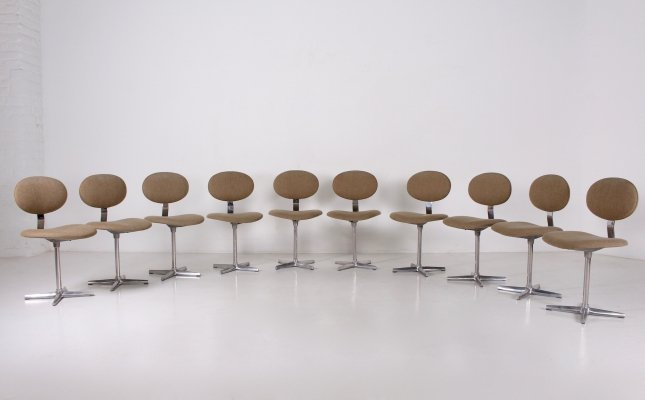 Rare suite of 10 'Binocle' chairs by Georges Vanrijk for Beaufort, 1960's