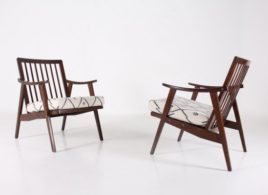 Pair of modernist beech 'visitor' armchairs, 1960's
